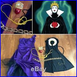 7 PC EVIL QUEEN Costume Lot SNOW WHITE Cosplay DRESS Gown CROWN Cape APPLE L/XL