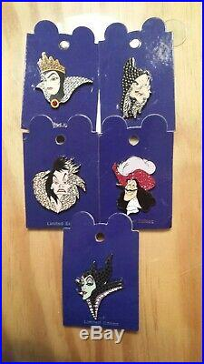 Disney Arribas Brothers Jewel LE Pin Lot Maleficent Evil Queen Hag Hook Cruella