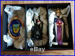 Disney Christopher Radko Set Snow White Evil Queen Old Hag Witch Mirror Ornament