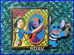 Disney Jumbo Pin Stitch Snow White Evil Queen Mirror Art Paris Event Pins Set