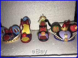 Disney World, Retired Signature Evil Queen Shoe Hat Ornament Snow White Lot Of 4