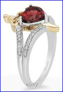 Enchanted Disney Snow White Evil Queen Garnet 925/10K Diamond Ring- GENUINE- USA