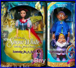 Evil Queen Great Villains Disney Doll Snow White Dwarfs Dopey Sneezy Lot 3 EXC