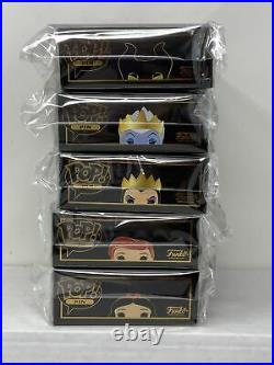 Funko POP! Pins Disney Complete Set of 5 with Maleficent CHASE In-Hand! MINT