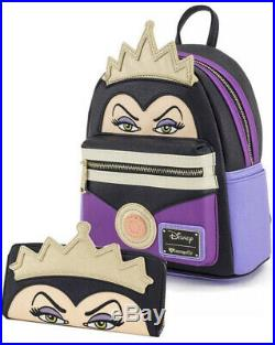 Loungefly Snow White's EVIL QUEEN Mini 3D CROWN Backpack 9Wx11Hx6.5D/Wallet