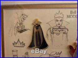 NEW RARE Disney pin Set Snow White Villain Evil Queen Framed Model Sheet