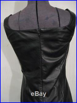 RALPH LAUREN black leather tank dress Sz6 punk goth Snow White Evil Queen image