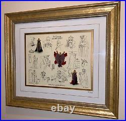 RARE Disney Snow White Villain The Evil Queen LE Framed Model Sheet Pin Set 1999