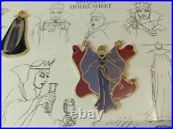 RARE Disney pin Set Snow White Villain Evil Queen Framed Model Sheet No. 712/7500