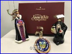 Radko Disney Snow White Ornament Set Evil Queen Hag Mirror