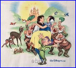 Rare Vtg Disney Snow White Seven Dwarfs Evil Queen Double sided T shirt sz L usa