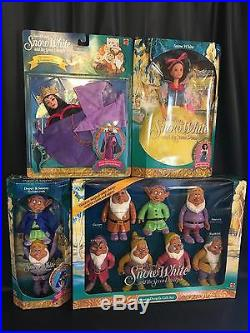 Vintage 1992 Mattel Walt Disney Snow White 7 Dwarfs Evil Queen Complete Doll Set