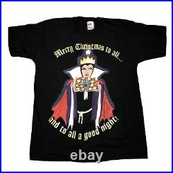 Vintage 90s Disney Snow White Evil Queen Christmas Holiday Shirt Black One Size
